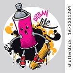graffiti urban style poster... | Shutterstock .eps vector #1672331284