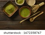 matcha tea with a cup stands on ... | Shutterstock . vector #1672358767