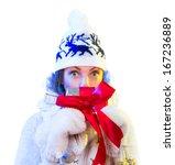 christmas woman. beautiful new... | Shutterstock . vector #167236889