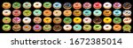 set of colorful glazed donuts... | Shutterstock . vector #1672385014