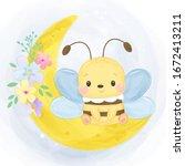 watercolor bee illustration ... | Shutterstock .eps vector #1672413211