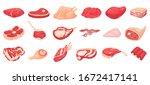 cartoon raw meat. bacon  steak... | Shutterstock .eps vector #1672417141