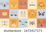 cute animal portraits. hand... | Shutterstock .eps vector #1672417171