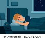 man with insomnia. sleep...   Shutterstock .eps vector #1672417207
