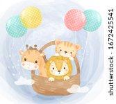 watercolor animals illustration ... | Shutterstock .eps vector #1672425541