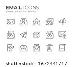 simple set of email line icons. ... | Shutterstock .eps vector #1672441717