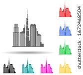 cityscape of dubai multi color...