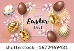 happy easter sale banner in... | Shutterstock .eps vector #1672469431