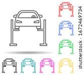 car lift multi color style icon....
