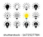 set of light bulb flat icons ... | Shutterstock .eps vector #1672527784