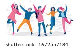 young people jumping . stylish... | Shutterstock .eps vector #1672557184
