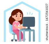 cute cartoon girl in pajamas... | Shutterstock .eps vector #1672561027