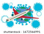 vector illustration of airplane ... | Shutterstock .eps vector #1672566991