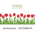 Red Tulips Flowers Seamless...