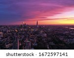 Photo shows beautiful sunrise at London where the sky is in pink and violet color. - stock photo
