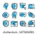 set of icons security  line... | Shutterstock .eps vector #1672606081
