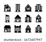 set of icons of towers of...   Shutterstock .eps vector #1672607947