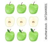 set of green apples. apples... | Shutterstock .eps vector #1672644001