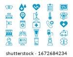 bundle of medical set icons... | Shutterstock .eps vector #1672684234