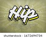 graffiti font with highlight... | Shutterstock .eps vector #1672694734