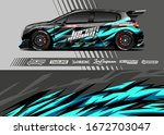 car wrap graphic livery design...   Shutterstock .eps vector #1672703047