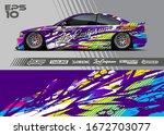 car wrap graphic livery design...   Shutterstock .eps vector #1672703077