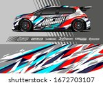 car wrap graphic livery design...   Shutterstock .eps vector #1672703107