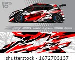 car wrap graphic livery design... | Shutterstock .eps vector #1672703137
