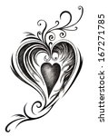 heart tattoo.hand drawing on... | Shutterstock . vector #167271785