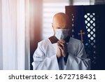 Man Priest In Medical Mask...