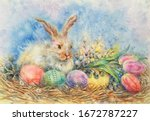 Watercolor Easter Bunny And...