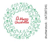 christmas wreath of sketch... | Shutterstock . vector #167287241