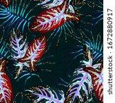 tropical leaf. modern motif.... | Shutterstock .eps vector #1672880917