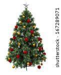 christmas tree with decorations ... | Shutterstock . vector #167289071