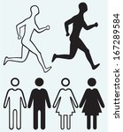 man and woman icon. running man ...   Shutterstock .eps vector #167289584