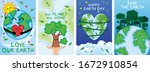 happy earth day set. earth day...   Shutterstock .eps vector #1672910854