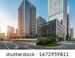 Streets and office buildings of ...