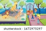school kids visiting animal... | Shutterstock .eps vector #1672975297