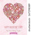 pink background with valentine... | Shutterstock .eps vector #167298389