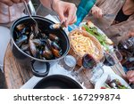 Steamed Mussels With Fries And...