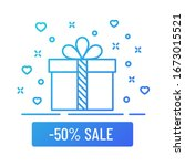 minus 50 percent sale gift box...