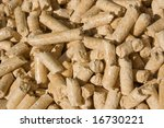 red deal wood pellets close-up - stock photo