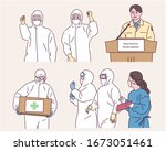 people at the center for... | Shutterstock .eps vector #1673051461