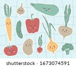 cute vegetables stickers with... | Shutterstock .eps vector #1673074591