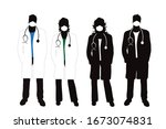 Set Of Vector Silhouette Of...