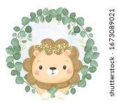 watercolor lion illustration ... | Shutterstock .eps vector #1673089021