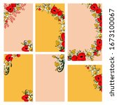 six postcards on an orange and... | Shutterstock .eps vector #1673100067