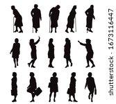set of vector silhouette of... | Shutterstock .eps vector #1673116447