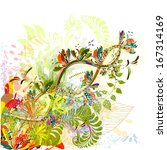 bright color floral abstraction.... | Shutterstock .eps vector #167314169