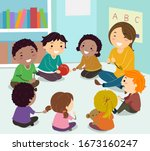 illustration of stickman kids... | Shutterstock .eps vector #1673160247